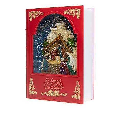 Winter Lane Musical Nativity Motion Glitter Globe Book