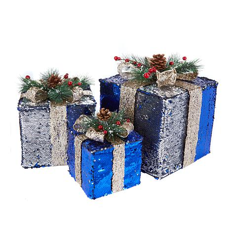 Winter Lane Sequin Christmas Boxes - Set of 3