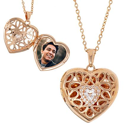 """With You Lockets™ Rose Gold-Plated """"Katharine"""" Heart Locket"""