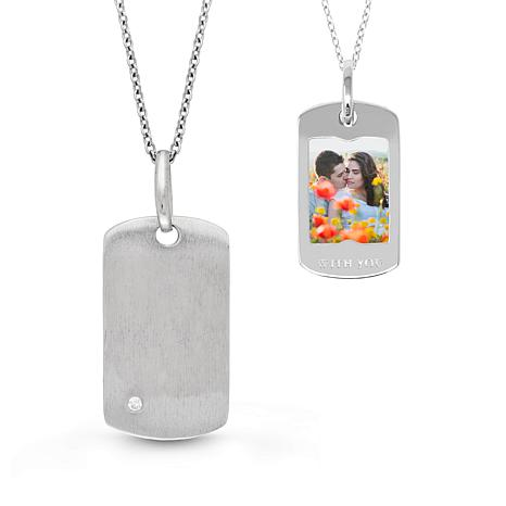 """With You Lockets™ Sterling Silver """"Annie"""" Dog Tag Photo Pendant"""