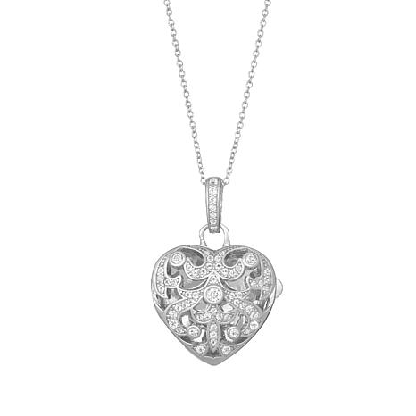"""With You Lockets™ Sterling Silver """"Deirdre"""" White Topaz Heart Locket"""