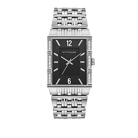 Wittnauer Men's .10ctw White Diamond Silvertone Rectangular Watch