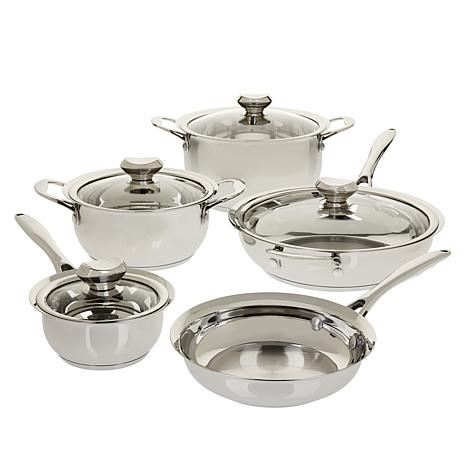 Wolfgang Puck 9-piece Stainless Steel Tulip-Shaped Cookware Set