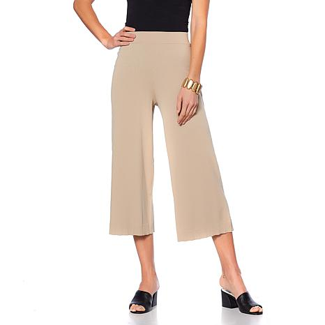 WynneLayers Cropped Wide-Leg Knit Pant