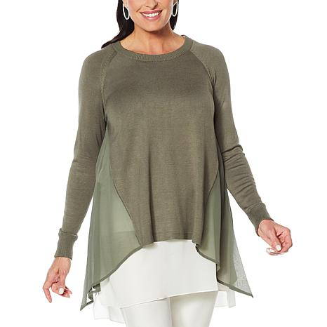 WynneLayers Pullover Sweater Knit with Chiffon Inset