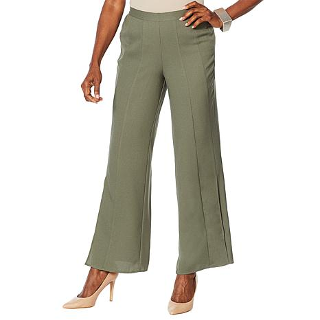 WynneLayers Woven Georgette Pull-On Pleated Pant