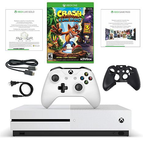 "Xbox One S 1TB 4K Console w/""Crash Bandicoot"" & 3-Month Live Voucher"