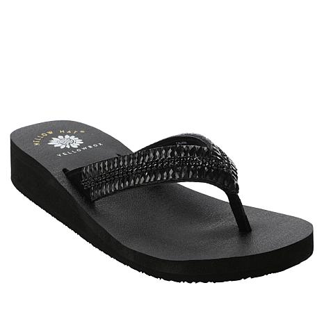 Yellow Box Caliana Leather Embellished Thong Sandal