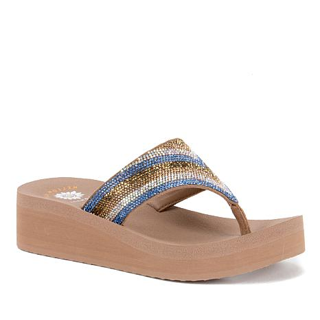 Yellow Box® Giana Beaded Stripe Leather Thong Sandal