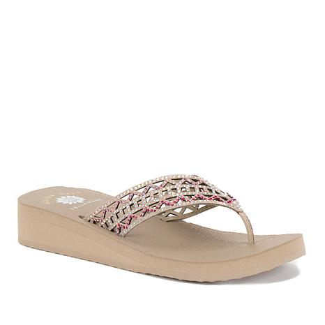Yellow Box® Ruthie Leather Beaded Thong Sandal