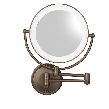 Zadro LED Round Wall Mount Mirror - Ribbed Bronze