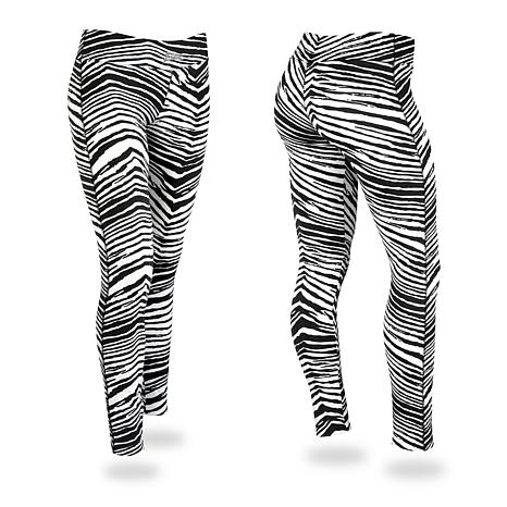 Zubaz Black and White Zebra Print Leggings