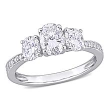 10K Gold 1.57ctw Moissanite Oval Three-Stone Engagement Ring