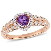 10K Rose Gold Diamond Accent and Amethyst Halo Heart Engagement Ring
