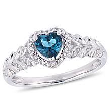 10K White Gold Diamond Accent and London Blue Topaz Halo Heart  Ring