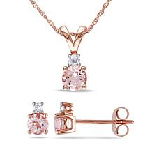 1.29ctw Pink Morganite and Diamond 10K Jewelry Set