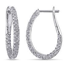 14K White Gold 1.08ctw White Diamond Pavé Hoop Earrings