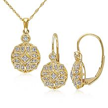 14K Yellow Gold .27ctw Diamond Vintage-Inspired Earrings and Pendant