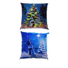 "17"" Decorative LED Pillow 2pk with Timer - Snowman and Christmas Tree"