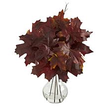 18 in. Autumn Maple Leaf Artificial Plant in Glass Planter