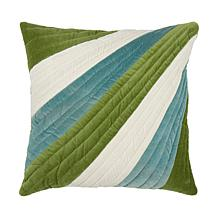 18 x 18 Diagonal Stripe Pillow - Green/Blue
