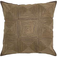 "18"" x 18"" Embroidered Cotton Pillow - Brown"