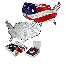 2021 Colorized Stars and Stripes Map of the USA 5 oz. Silver Coin