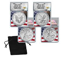 2021 MS70 ANACS FDOI LE 2,021 Type I and II Silver Eagle Dollar Coins