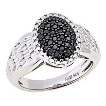 .25ctw Colored Diamond Oval Cluster Sterling Silver Ring