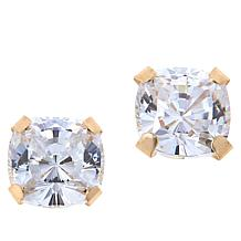 Absolute™ 14K Gold 2ctw Cubic Zirconia 88-Facet Cushion Stud Earrings