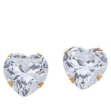 Absolute™ 14K Gold 8ctw CZ Heart Stud Earrings