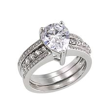 Absolute™ 3.09ctw Cubic Zirconia Pear and Pavé 2-piece Ring Guard Set