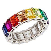 Absolute™ CZ and Colored Stone Reversible Rainbow Band Ring