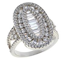 Absolute™ Sterling Silver Baguette and Round Oval Halo Framed Ring