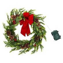 """American Tree & Wreath 22"""" Color-Changing Wreath with Bow"""