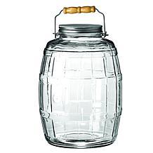 Anchor Hocking 2.5-gallon Glass Storage Barrel Jar w Metal Lid, Handle