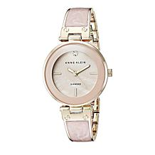 Anne Klein Goldtone Diamond-Accented Light Pink Bezel Bracelet Watch