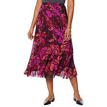 Antthony Chiffon Overlay Printed Gore Skirt