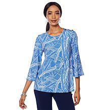 """Antthony """"Smooth Sports"""" Printed Top with Button Detail"""