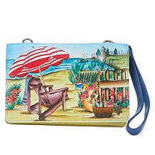 Anuschka Hand Painted Leather 3-in-1 Organizer Crossbody Wallet