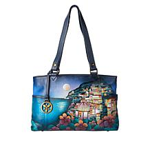 Anuschka Hand-Painted Leather Double Zippered Shoulder Bag