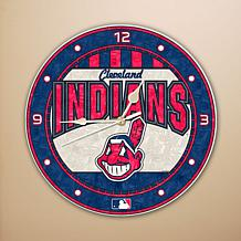 Art Glass Wall Clock - Cleveland Indians