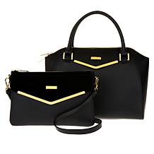 """As Is"" JOY & IMAN Couture Leather Satchel & Clutch with Velvet Detail"
