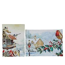 """As Is"" Winter Lane Set of 2 Feather Flurry Mini Fiber-Optic Canvas..."