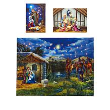 """""""As Is"""" Winter Lane Set of 3 Fiber Optic Canvases"""