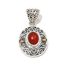 Bali Designs Orange Ethiopian Opal Scroll Pendant