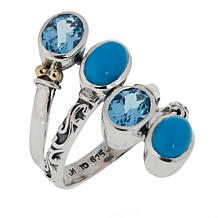 Bali Designs Oval Sky Blue Topaz and Turquoise Ring