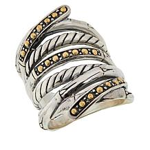 Bali Designs Sterling Silver and 18K Gold Bamboo Cable Ring