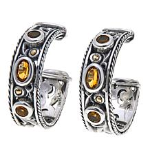 Bali Designs Sterling Silver and 18K Gold Citrine Hoop Earrings