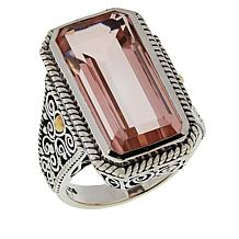 Bali Designs Sterling Silver and 18K Gold Colored Quartz Doublet Ring
